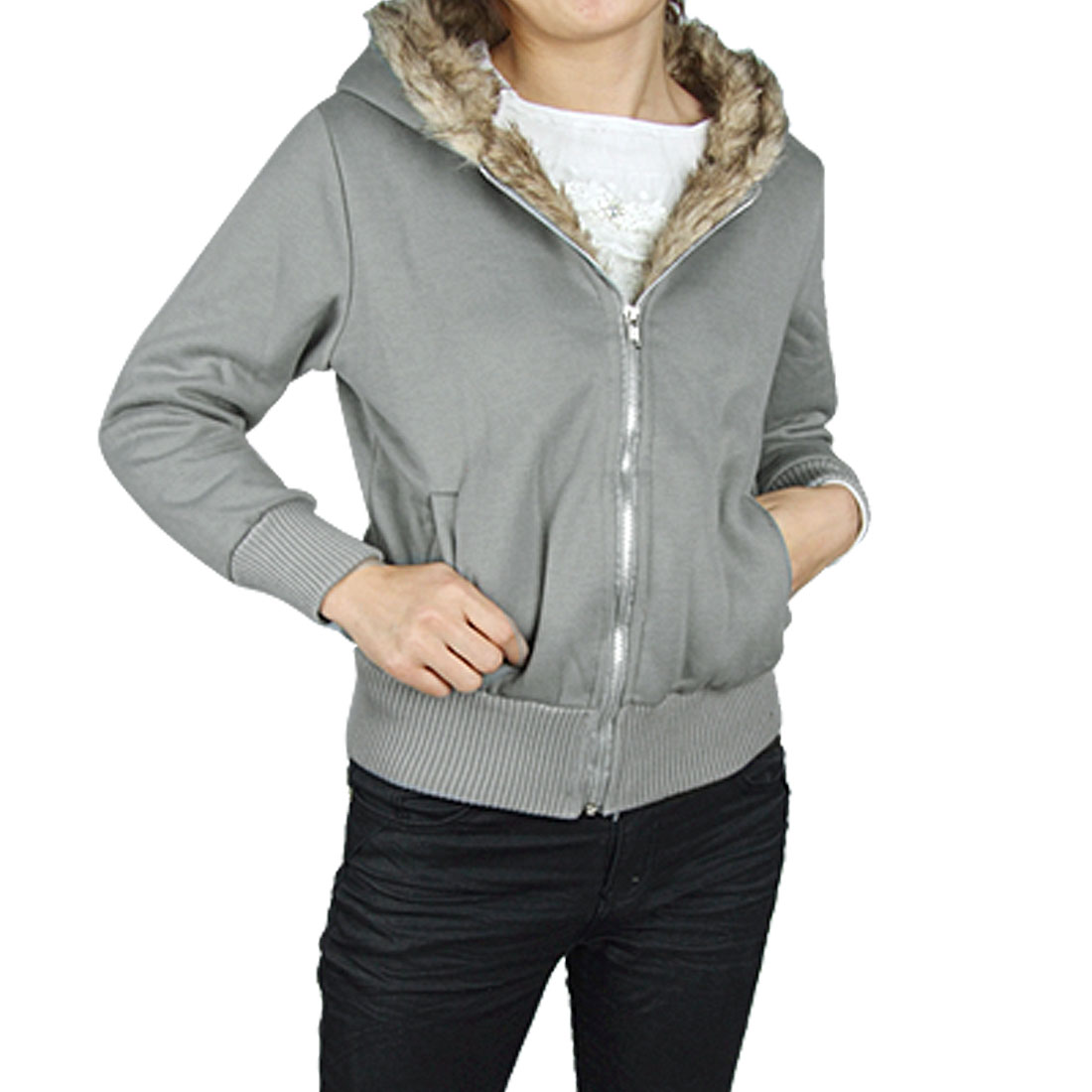 Lady Gray Ribbing Elastic Cuff Slanted Pocket Zipper Hoodie Warm Coat