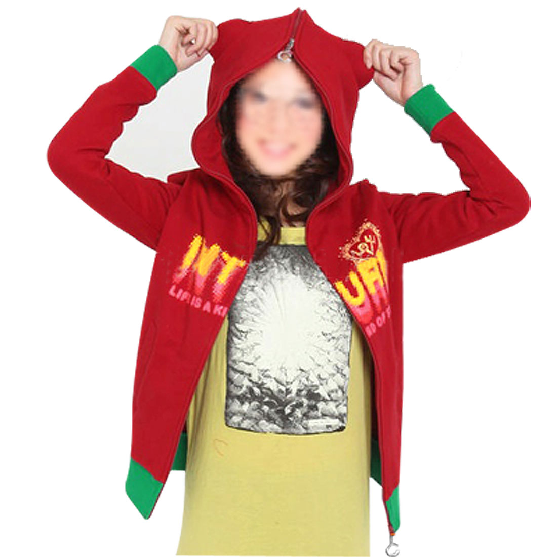Lady Red Green Trim Two-Sides Zipper Detachable Hoodie Sweatshirt