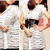 Lady White Short Sleeve Button-tab Epaulets Sheer Lace Shirt XS
