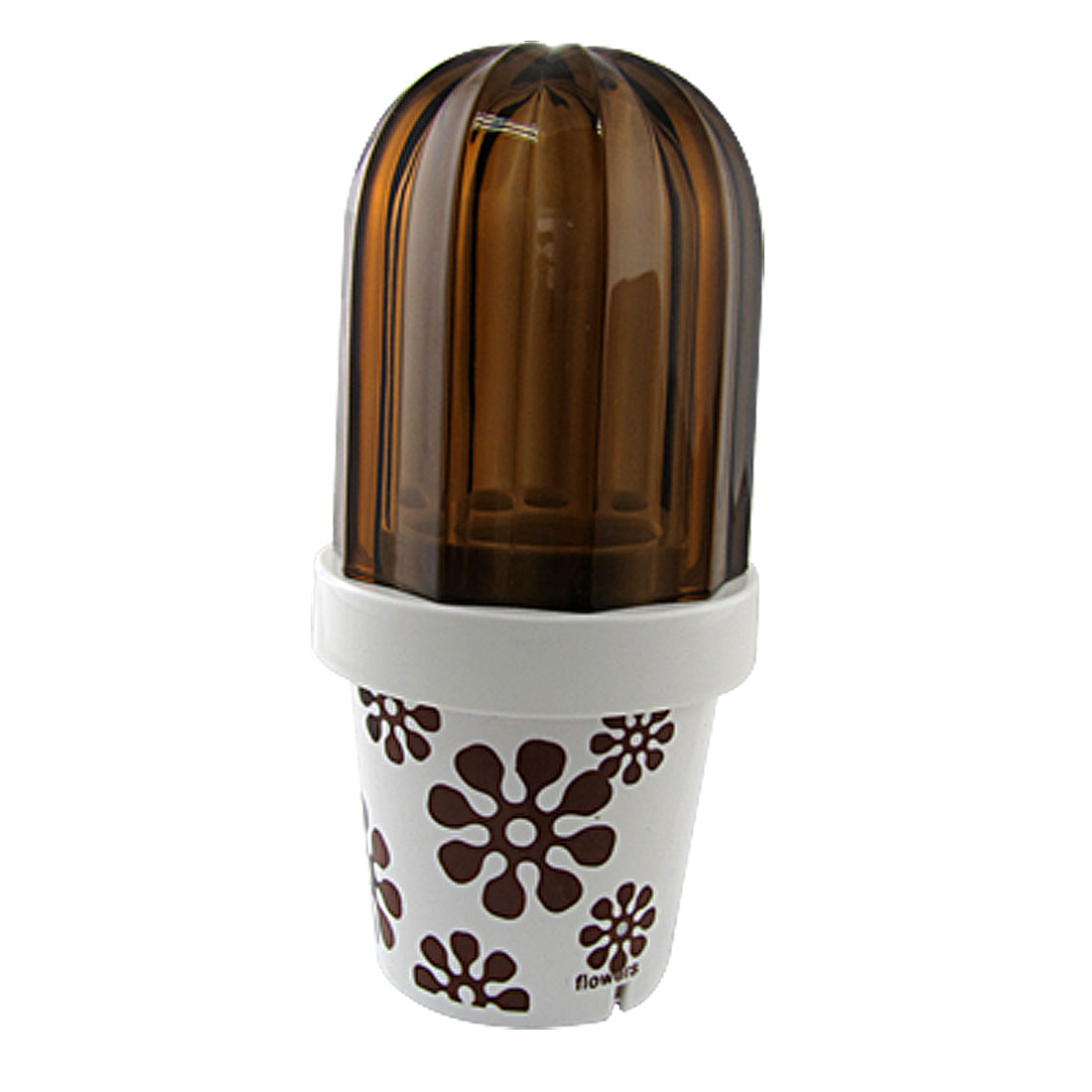 Coffee Color Floral White Toothpaste Toothbrush Holder w Cover