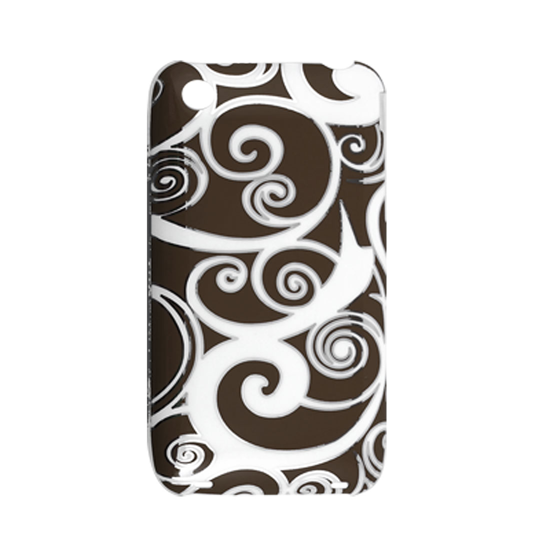 Silver Tone Pattern Rim Clear White Side Back Case for iPhone 3GS