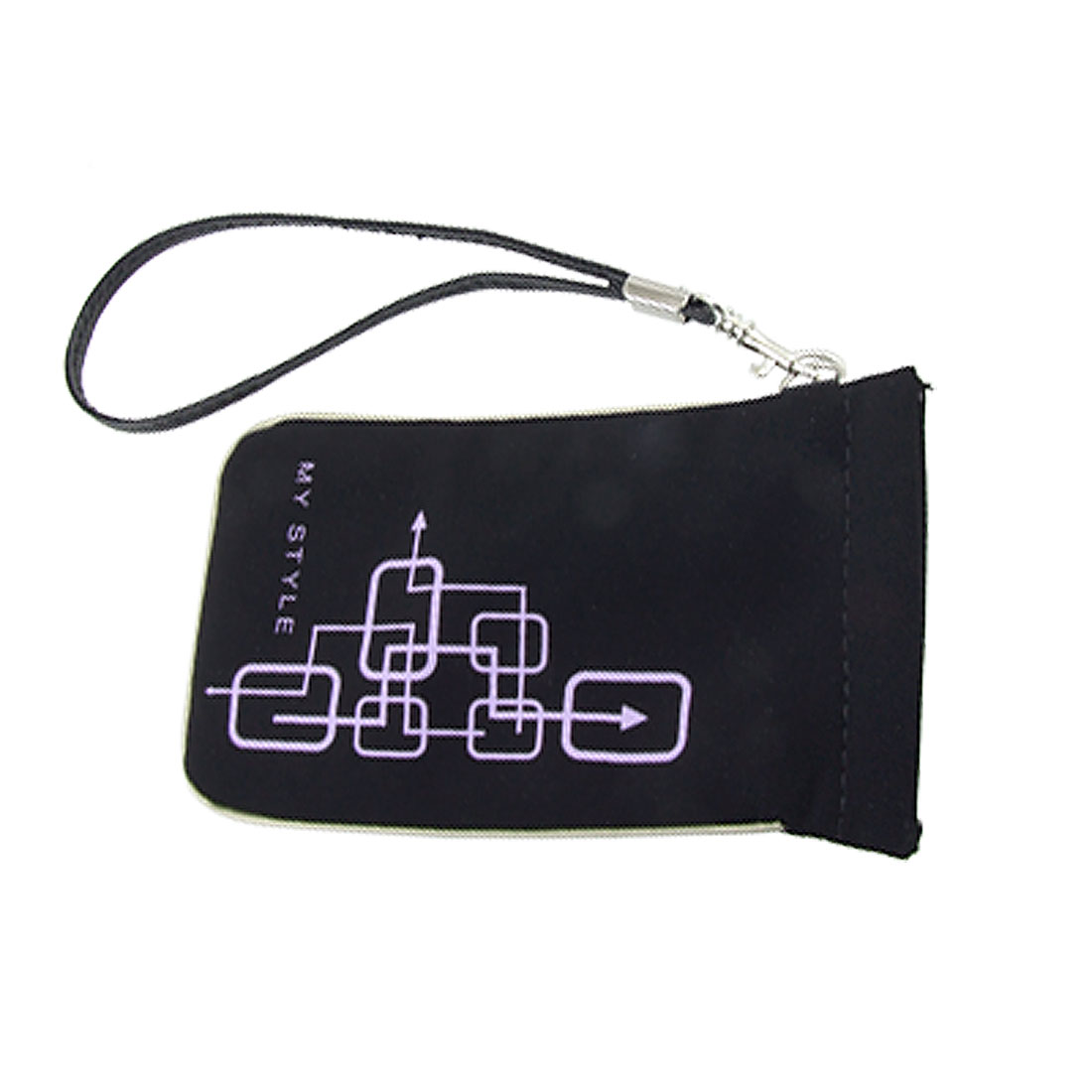 Purple Print Black PVC Faux Leather Pouch for Mobile Phone