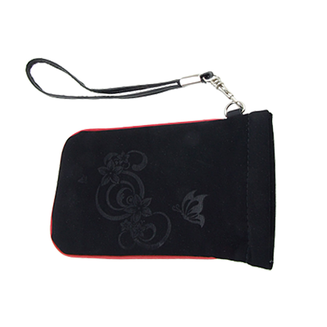 Red Hem PVC Faux Leather Pouch Holder for Mobile Phone