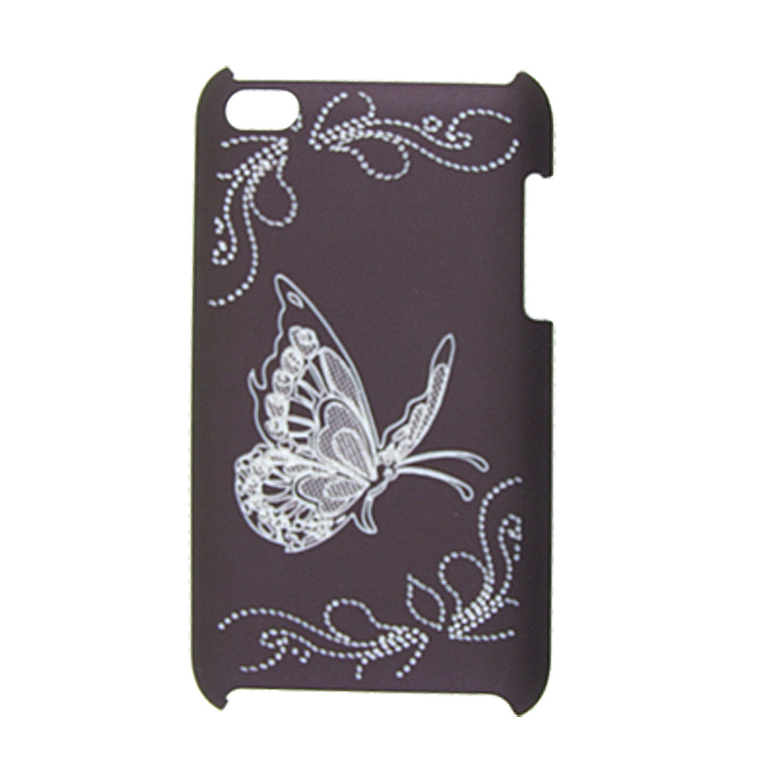 Butterfly Deep Purple Rubberized Back Cover for iPod Touch 4G