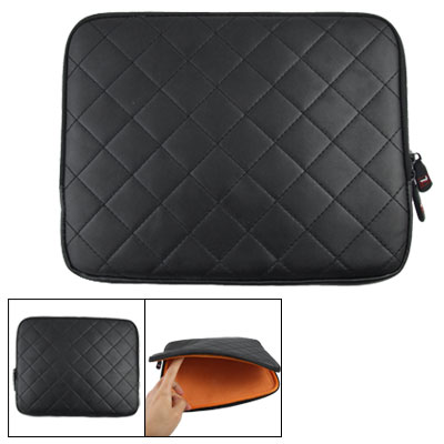 Black Grid Pattern Faux Leather Zipper Bag Pouch Case for iPad 1