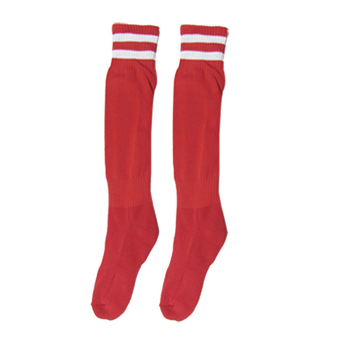 Man Red White Bar Elastic Sports Football Stockings