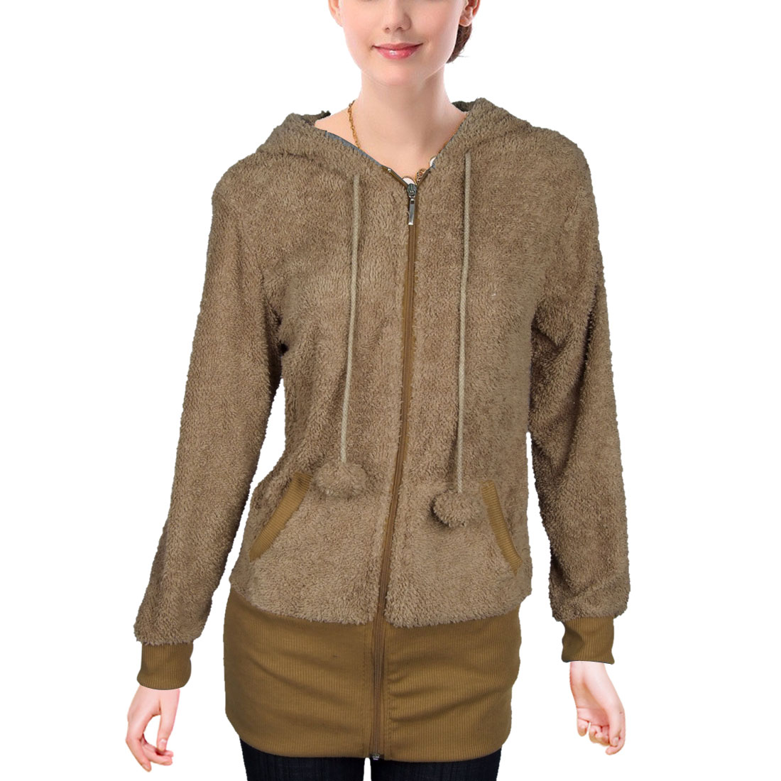 Size XS Brown Pom-pom String Stretched Cuff Rabbit Hooded Sweatshirt for Lady