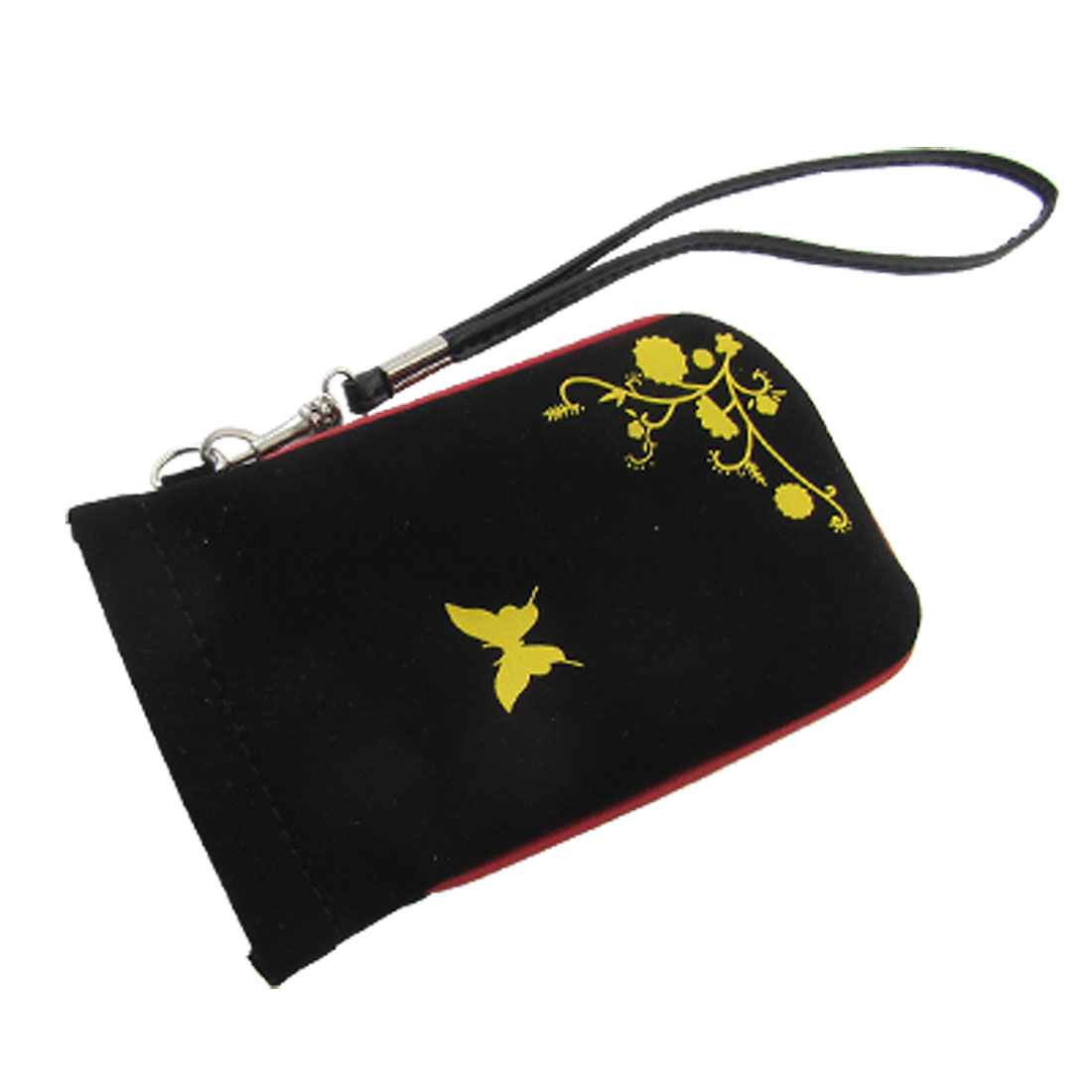 Yellow Butterfly Black PVC Faux Leather Protective Pouch for Phone