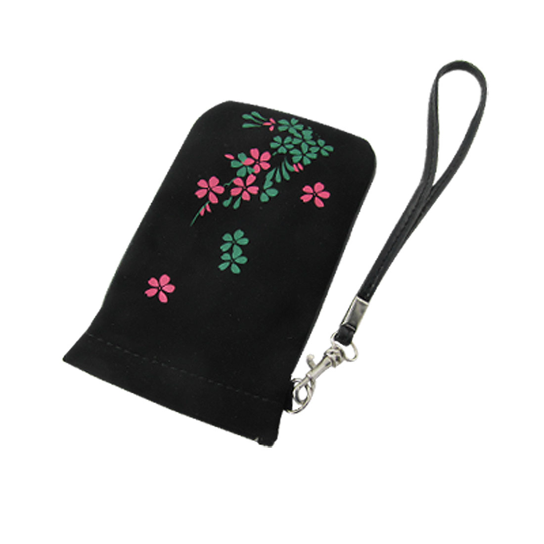Black PVC Faux Leather Fuchsia Flower Pouch Bag for Mobile Phone