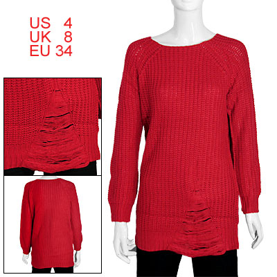 Ladies Red Round Neck Raglan Sleeve Long Pullover Knit Sweater S