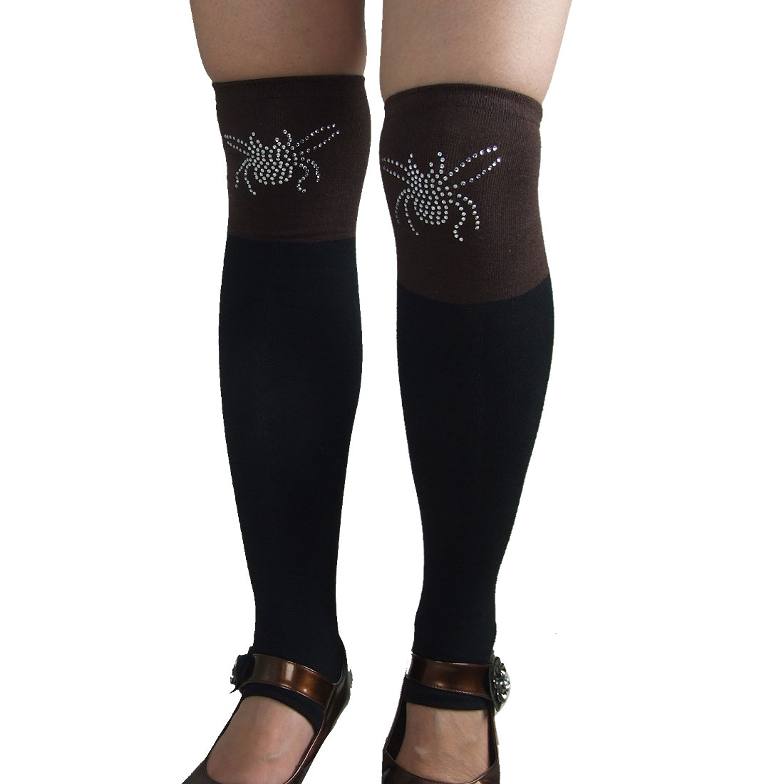Coffee Black Elastic Heel Leg Warmer Toeless Stockings