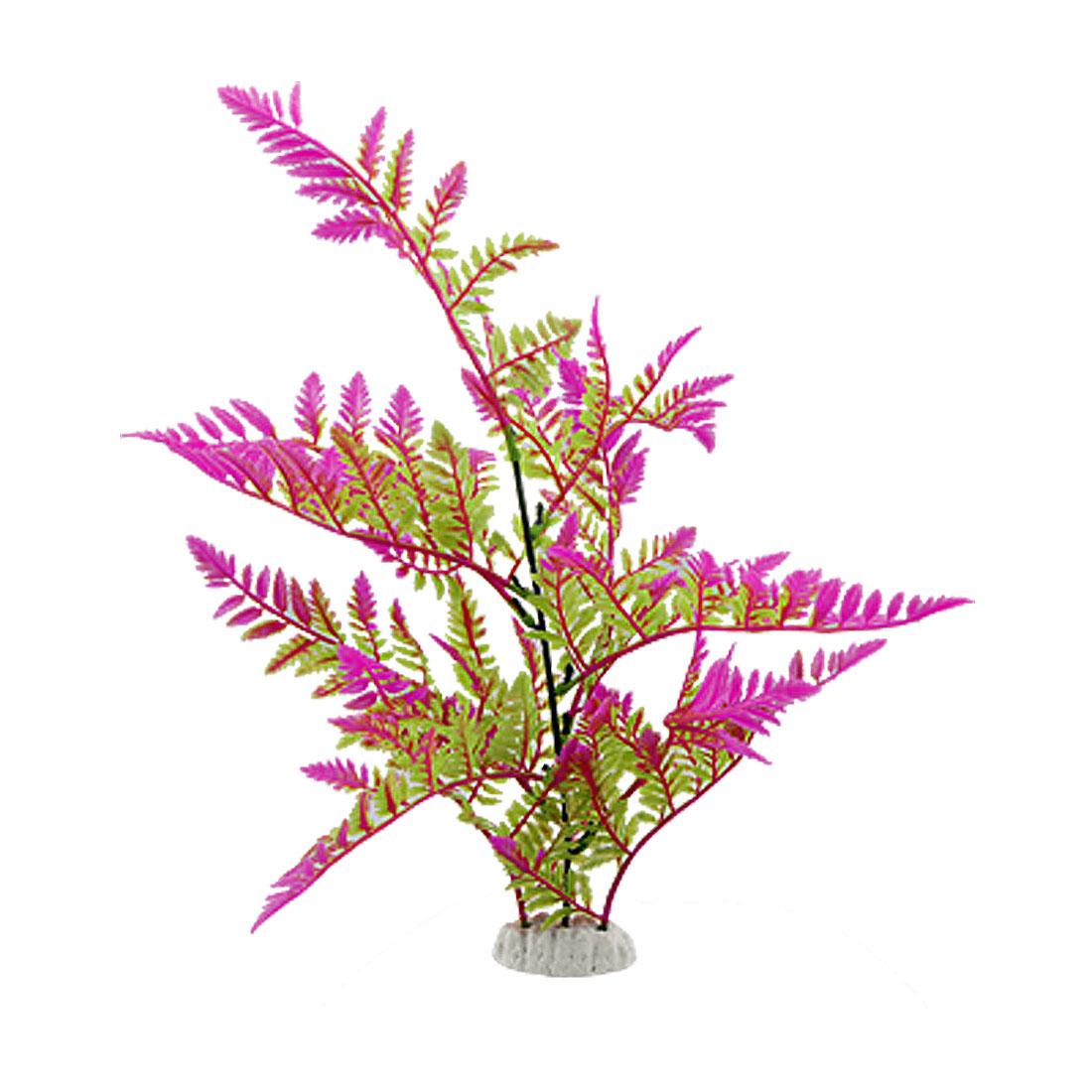 "Aquarium Plastic Green Purple Grass Decor Ornament 15"""