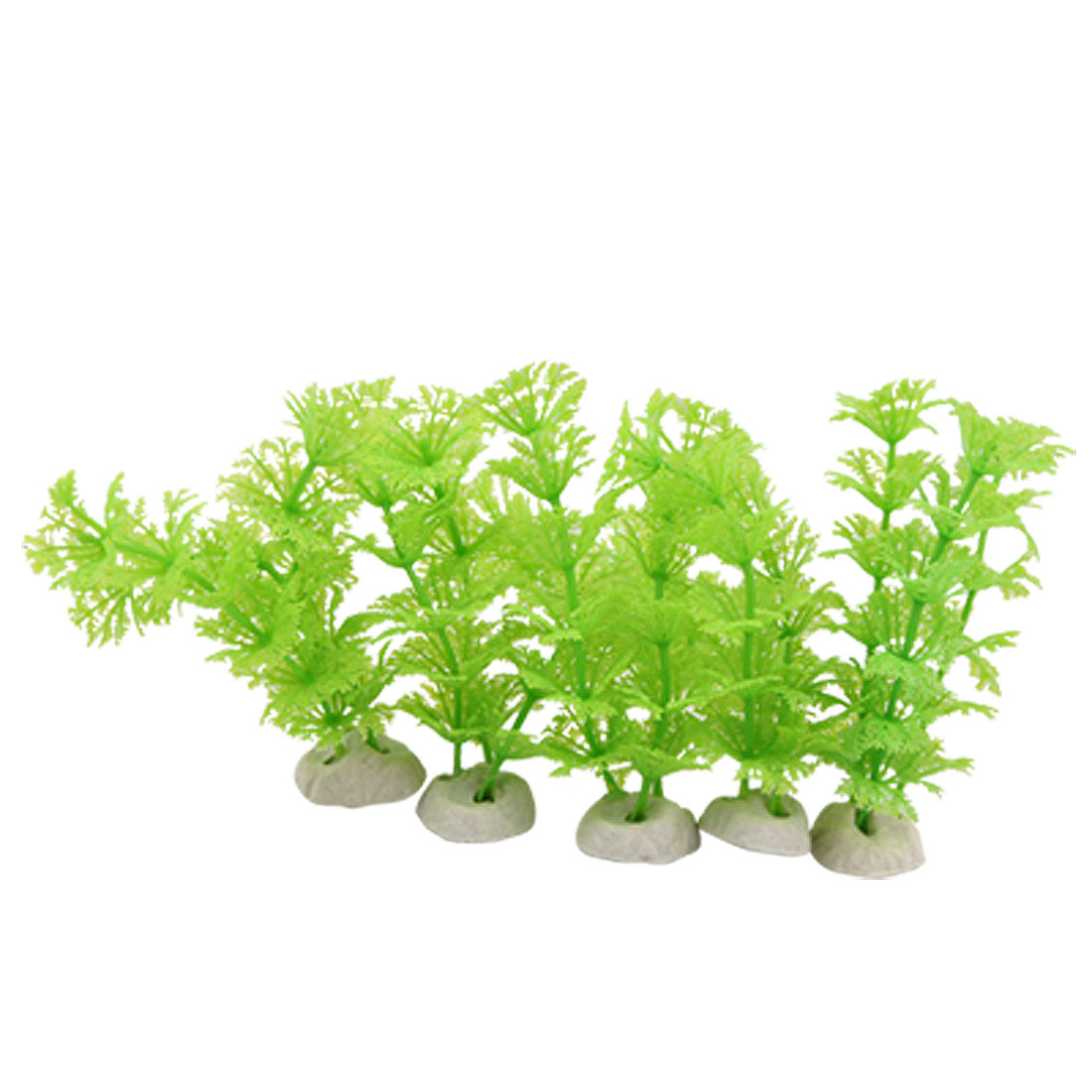 5PCS White Ceramic Base Green Plastic Grass Fish Tank Ornament