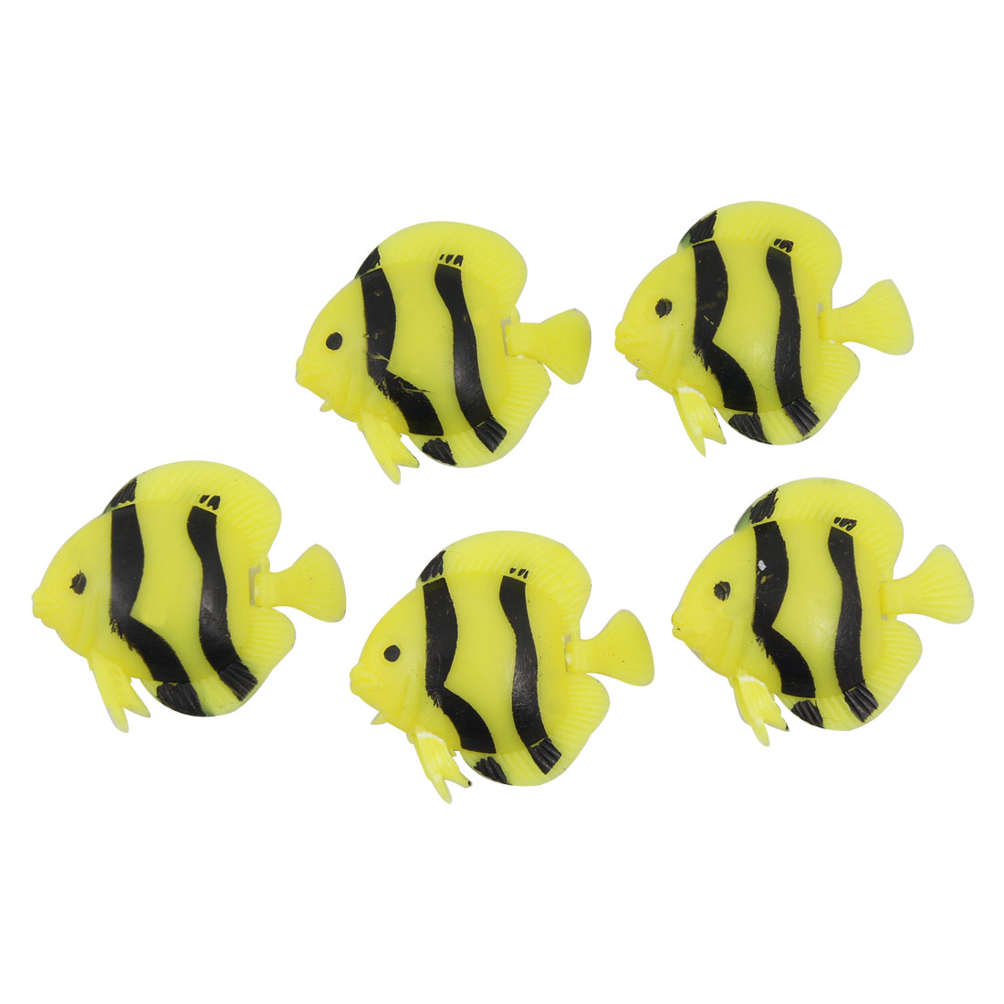 Yellow Black Striped Plastic Fish Aquarium Decoration 5PCS