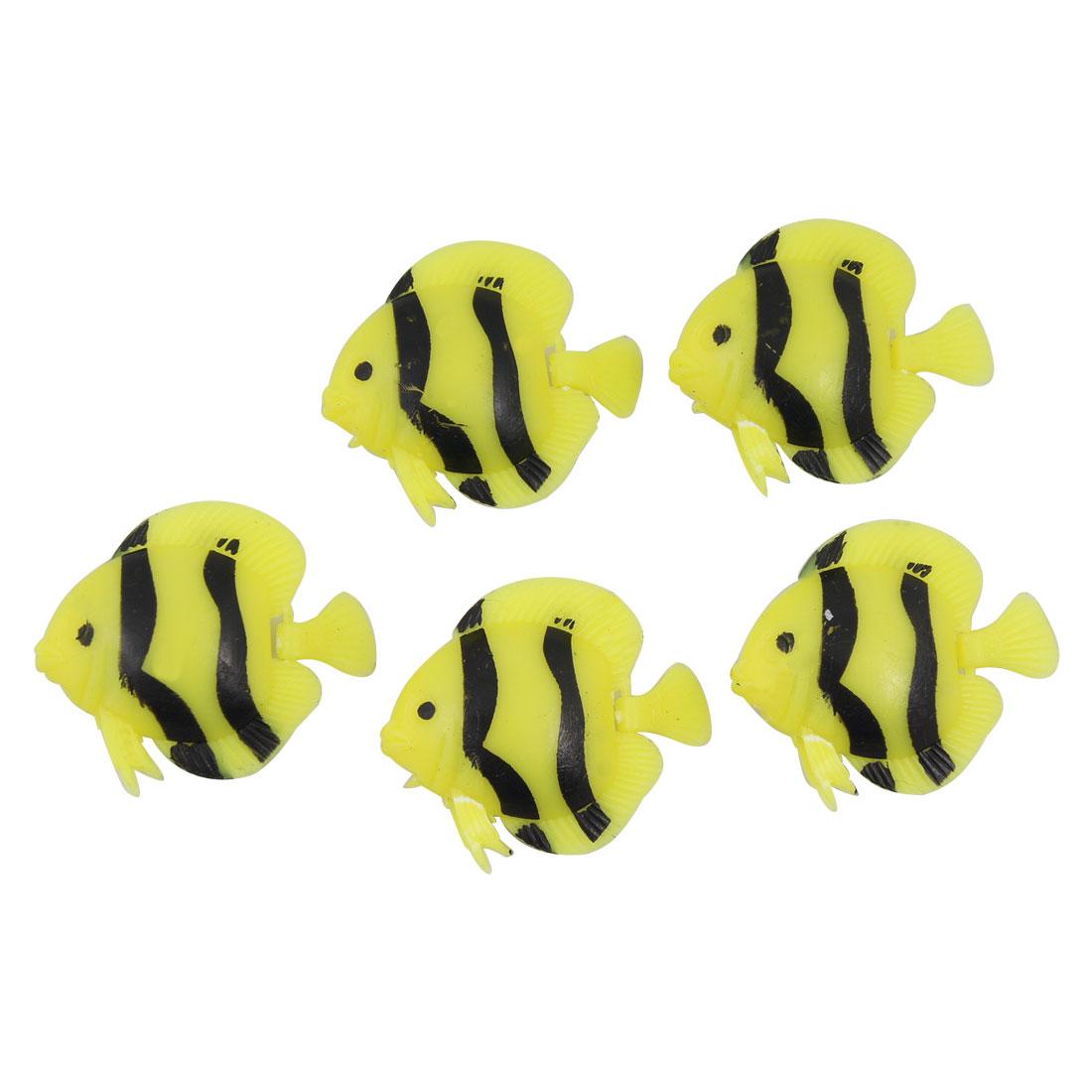 Yellow Black Striped Plastic Fish Aquarium Decoration 5PCS