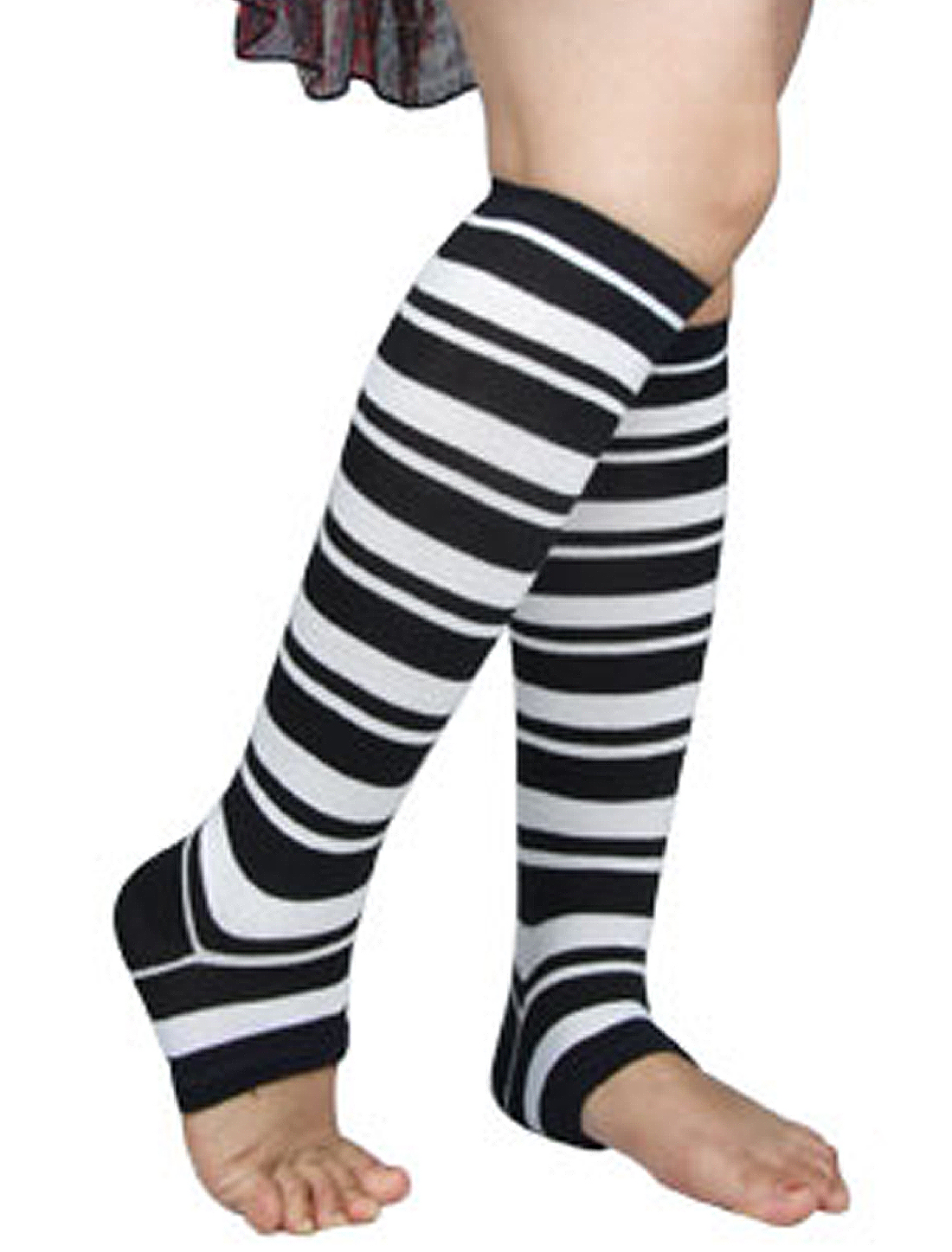Toless Style Stretchy Black White Striped Leg Warmers