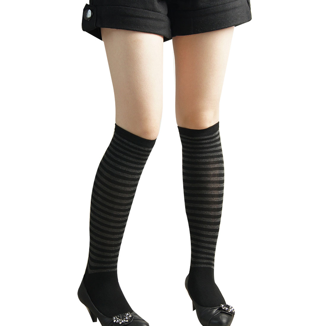 Black Gray Beblow The Knee Style Socks Stretchy Stocking for Ladies