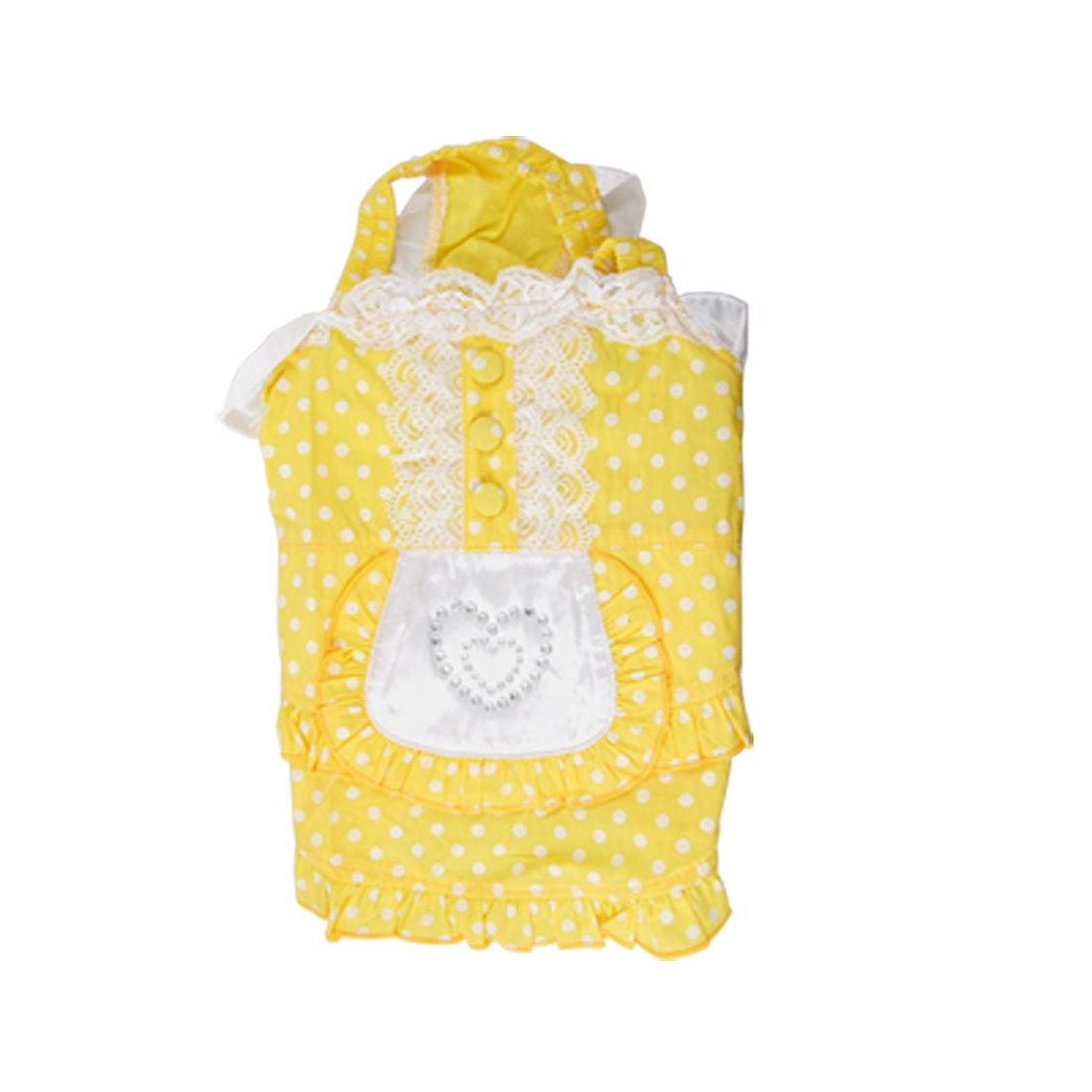 Summer Yellow Chiffon Lace Dot Pet Puppy Dog Apparel Shirts Vest Dress Size XL