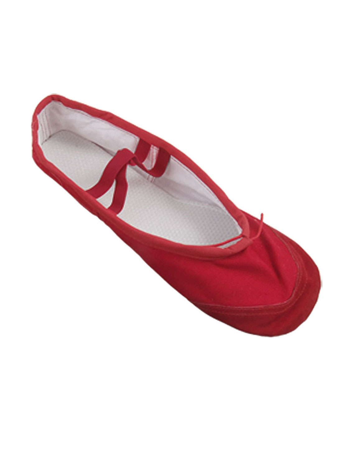 Girls Red Canvas Crossover Elastic Bands Flat Ballet Dancing Shoes US Size 11.5
