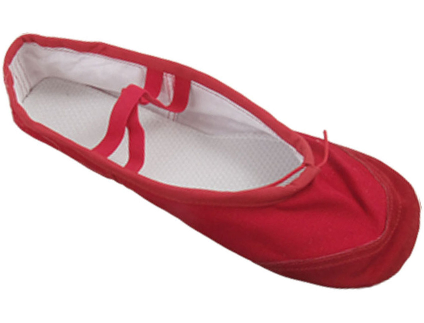 Ladies Red Soft Canvas Elastic Bands Flat Ballet Dancing Shoes US Size 8.5