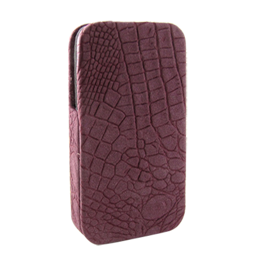 Faux Leather Coated Hard Crocodile Print Pouch Case for iPhone 4 4G