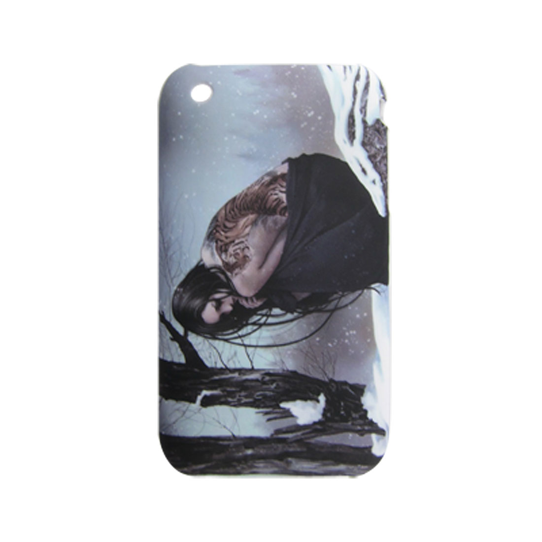 Rubberized Plastic Snowfield Lady Print Back Case for iPhone 3G