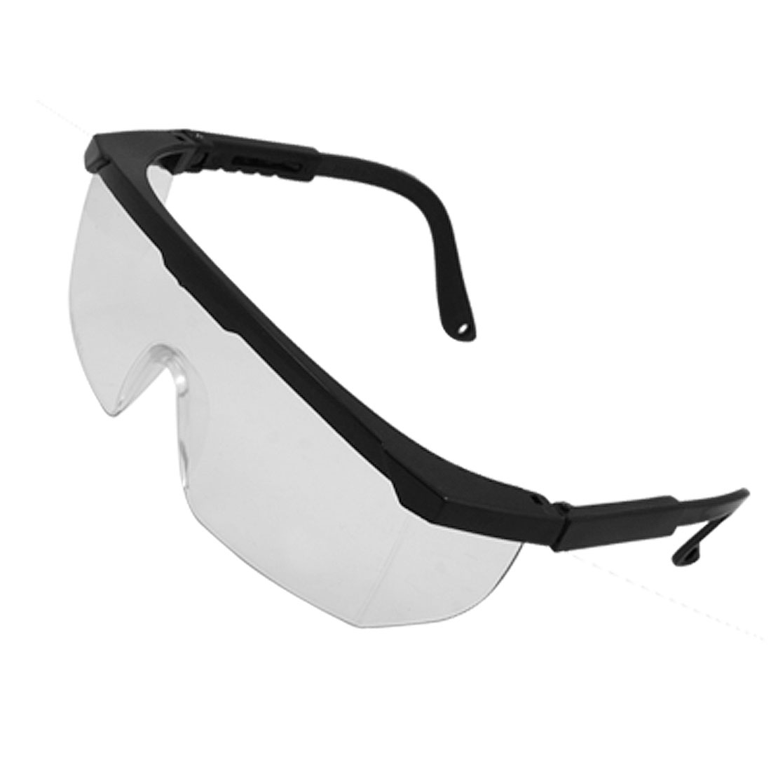 Clear Wide Lens Plastic Black Frame Windproof Goggles