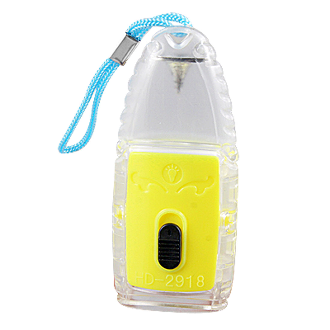 Yellow Rotatable Plastic Case 2 White LED Flashlight w Blue Strap