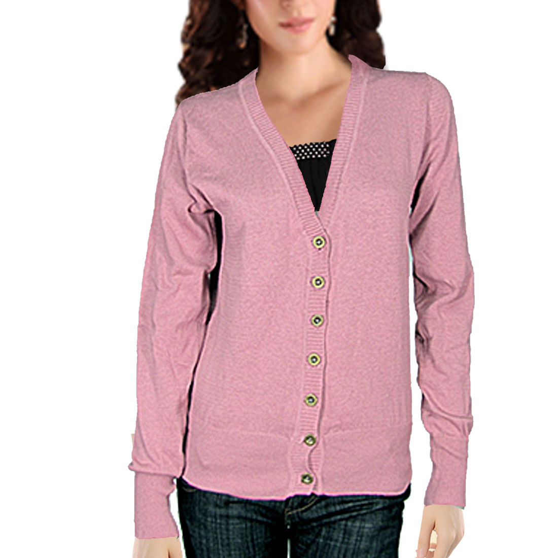 Puce Ribbed Trim Button Up V Neck Ladies Knit Cardigan XS
