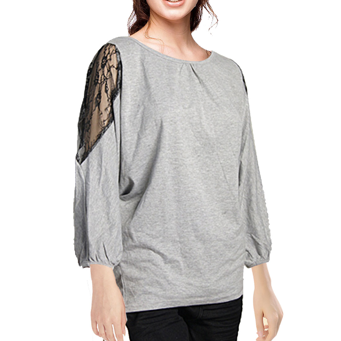 Ladies Boat Neck Off Single Shoulder Batwing Sleeves Shirt S