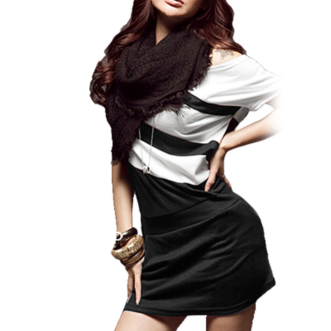 Lady Black White Color Block Slanting Pocket Dress XS