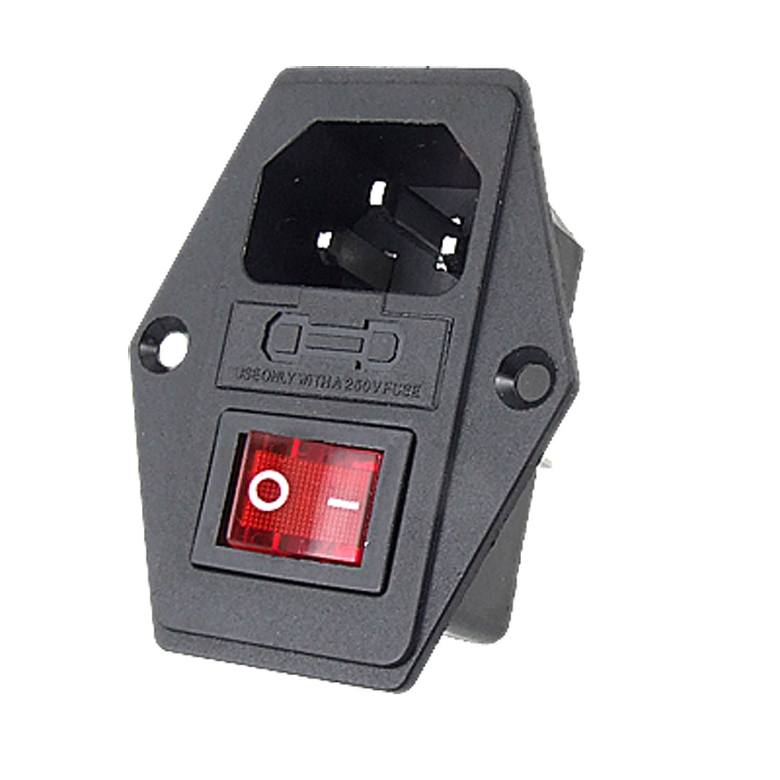 3P IEC320 C14 Inlet Module Fuse Switch Male Power Socket 10A 250V