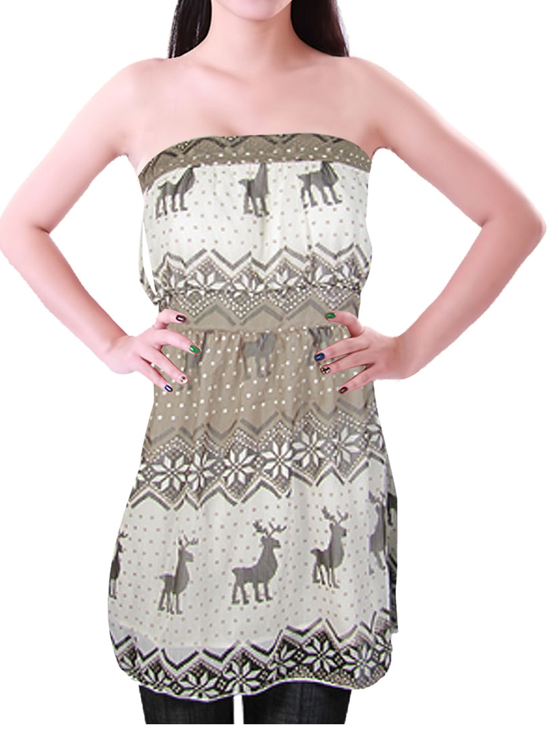 Ladies XS Brown White Sleeveless Deer Pattern Tube Top