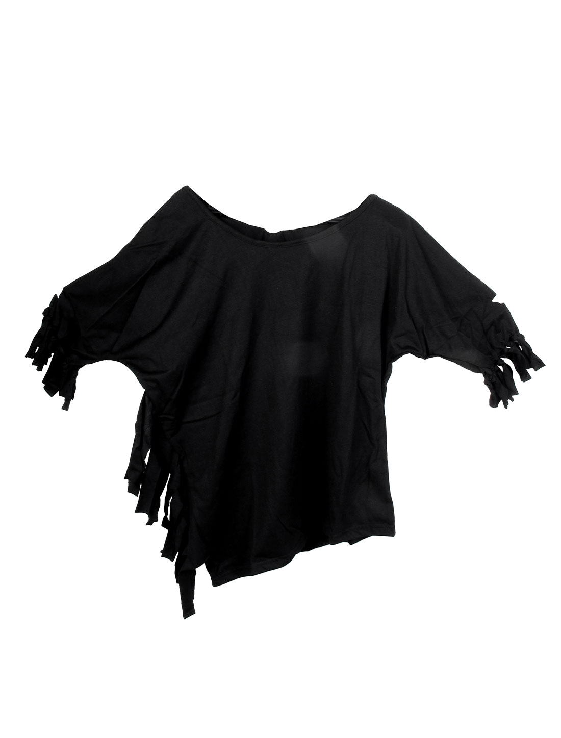 XS Black Solid Seam Fringed Top Blouse Shirt for Lady