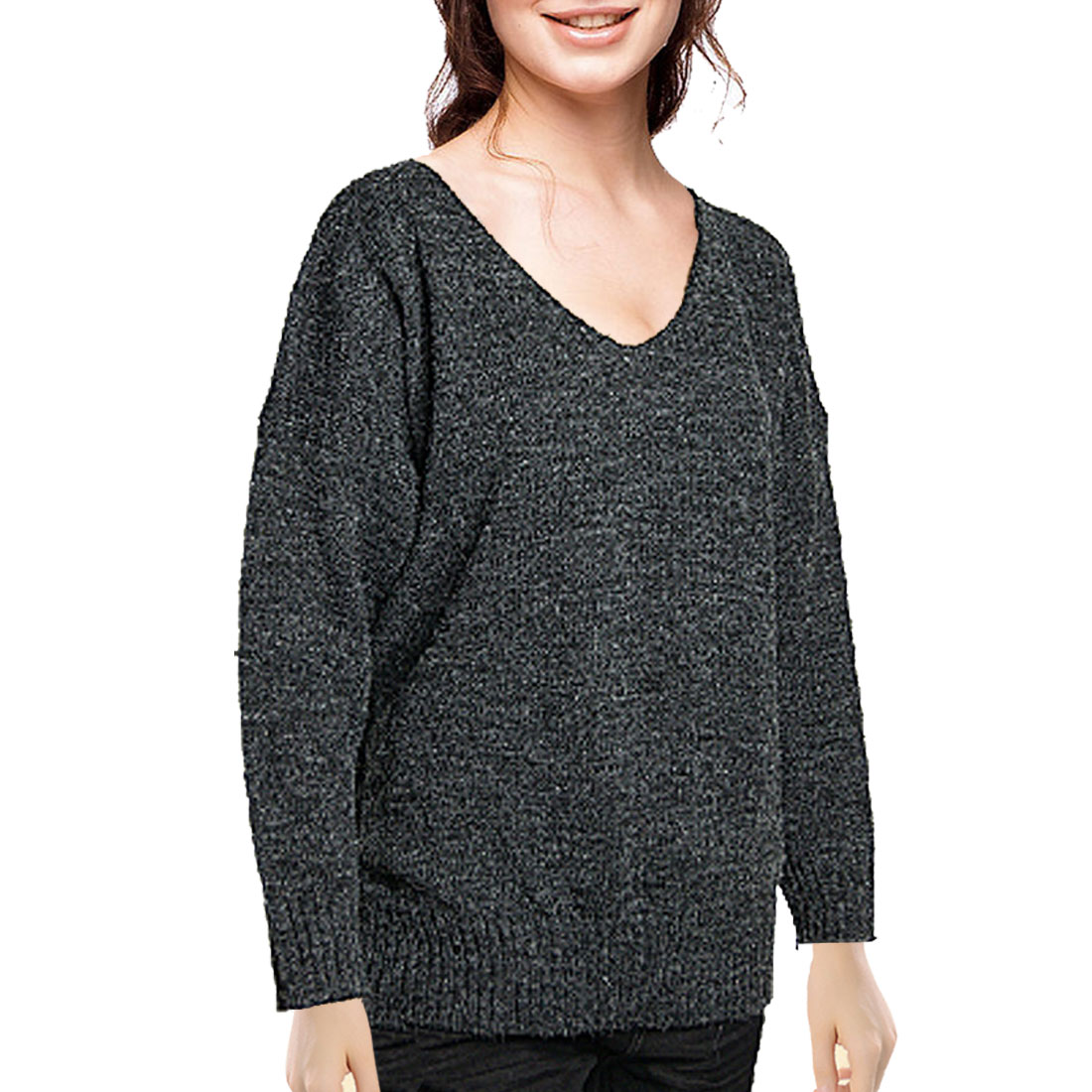 Double V Neck Knitted Pullover Sweater for Ladies S
