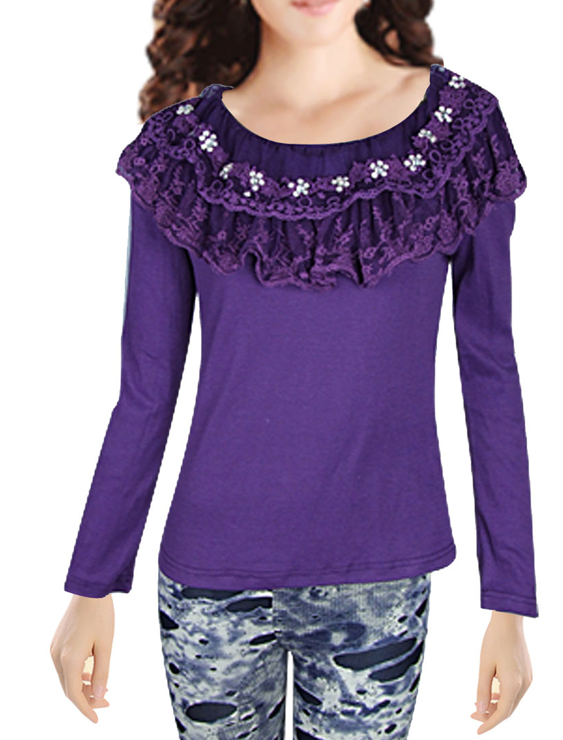 Ladies Two Layers Lace Round Neck Long Sleeve Purple Shirt XS