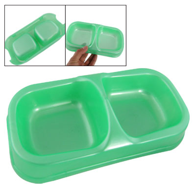 Dog Pet Food Water Double Bowl Plastic Feeding Dish Green