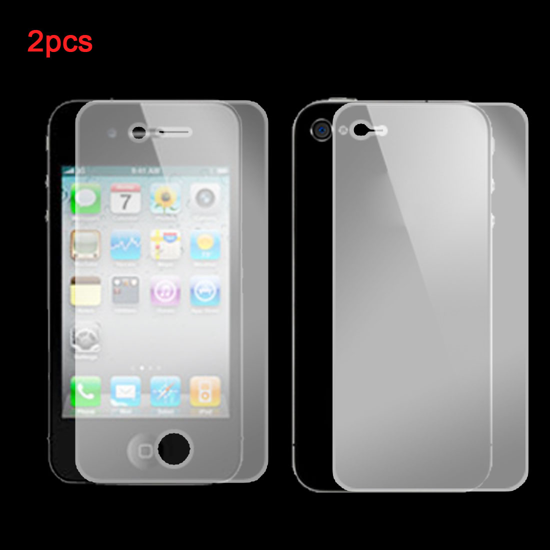 2 in 1 Clear LCD Screen Protector Shield Guard for iPhone 4 4G