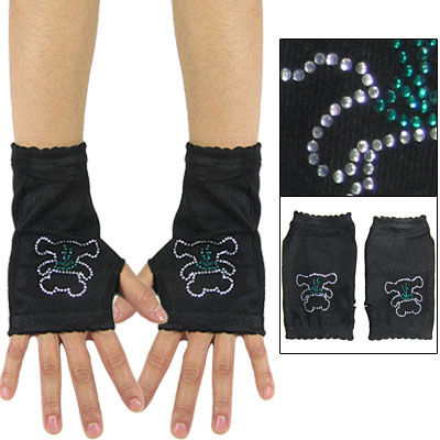Rhinestud Bear Design Wrist Cover Mitten Warmers
