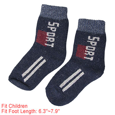 Dark Blue English Letters Printed Rib Cuff Children Stretchy Socks