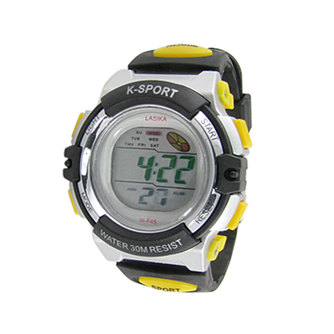 Unisex Black Yellow Plastic Band Cold Light Alarm Chime Sports Watch