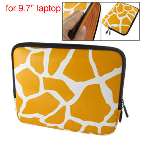 "9.7"" Orange White Giraffe Pattern Faux Leather Laptop Bags"