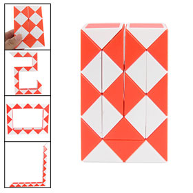 Salmon Pink White Twist Transformable Snake Magic Cube Puzzle Toy for Kids