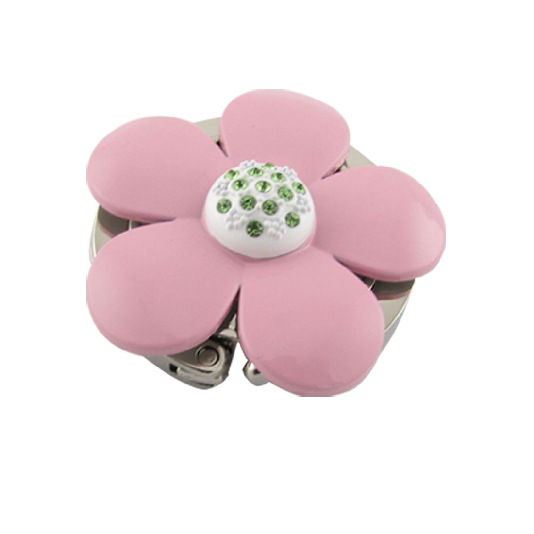 Pink Floral Green Rhinestone Inlay Foldable Handbag Hook Hanger