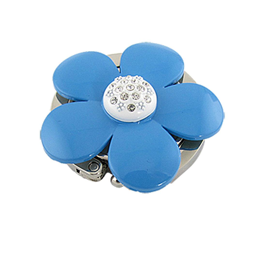 Folding Rhinestone Accent Blue Floral Handbag Hook Hanger