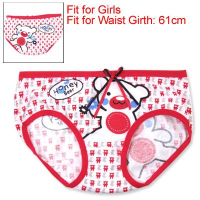 Cartoon Bear Pattern Girls Elastic Lingerie Shorts Briefs