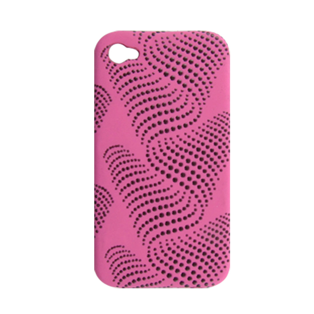Fuchsia Dot Pattern Faux Leather Coated Hard Back Case for iPhone 4 4G
