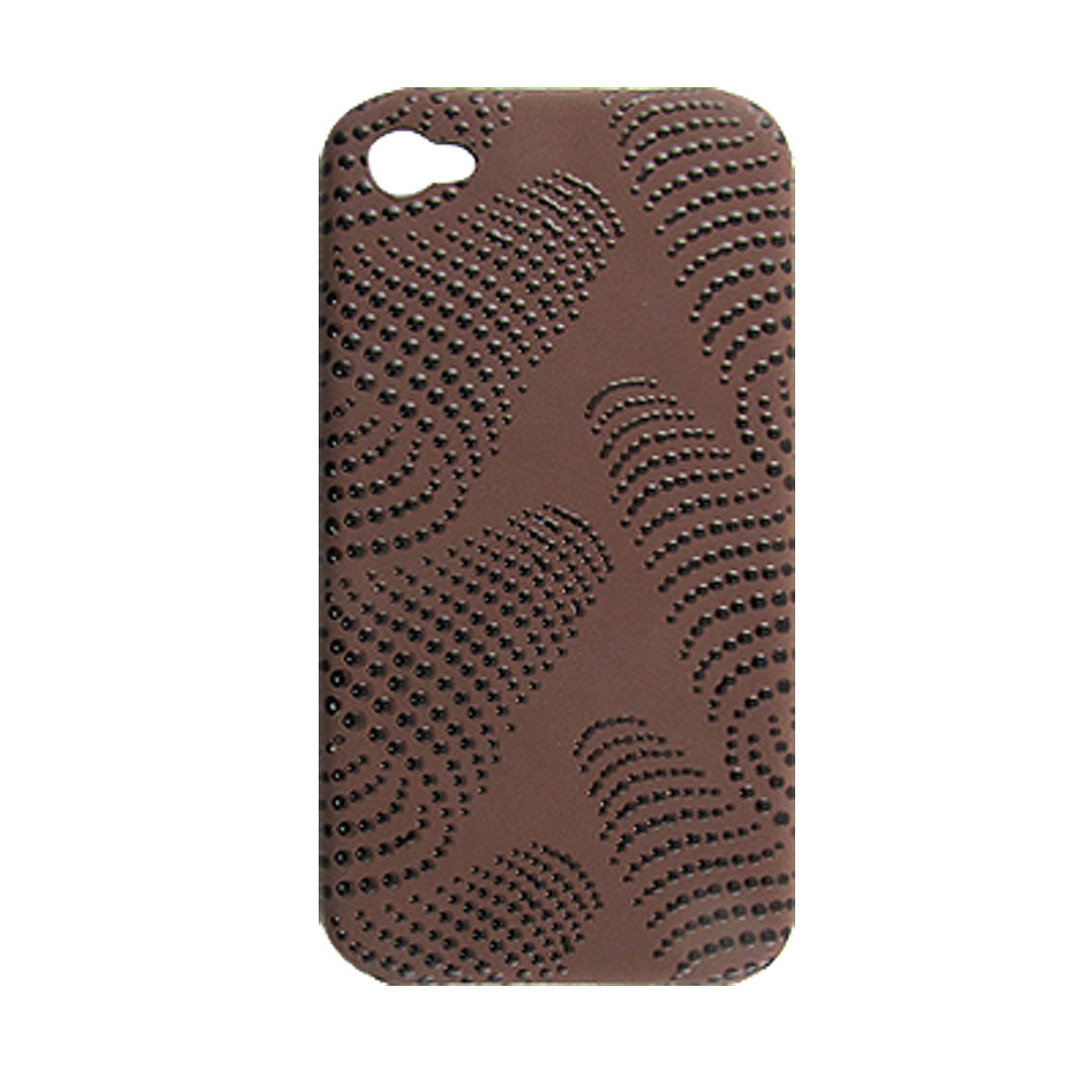 Nonslip Dot Hard Plastic Back Cover Coffee for iPhone 4 4G