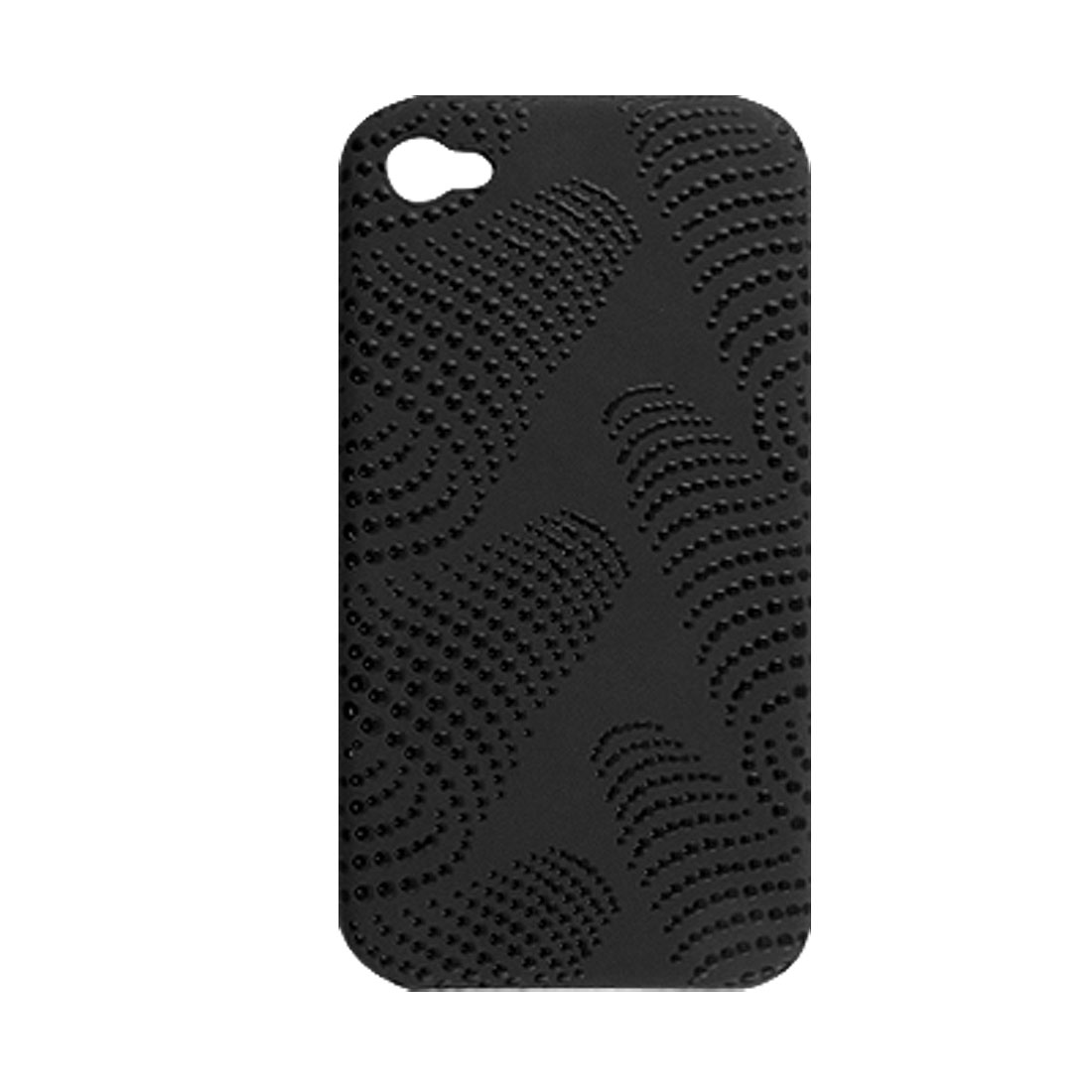 Black Anti Slip Dot Print Hard Plastic Back Case for iPhone 4 4G