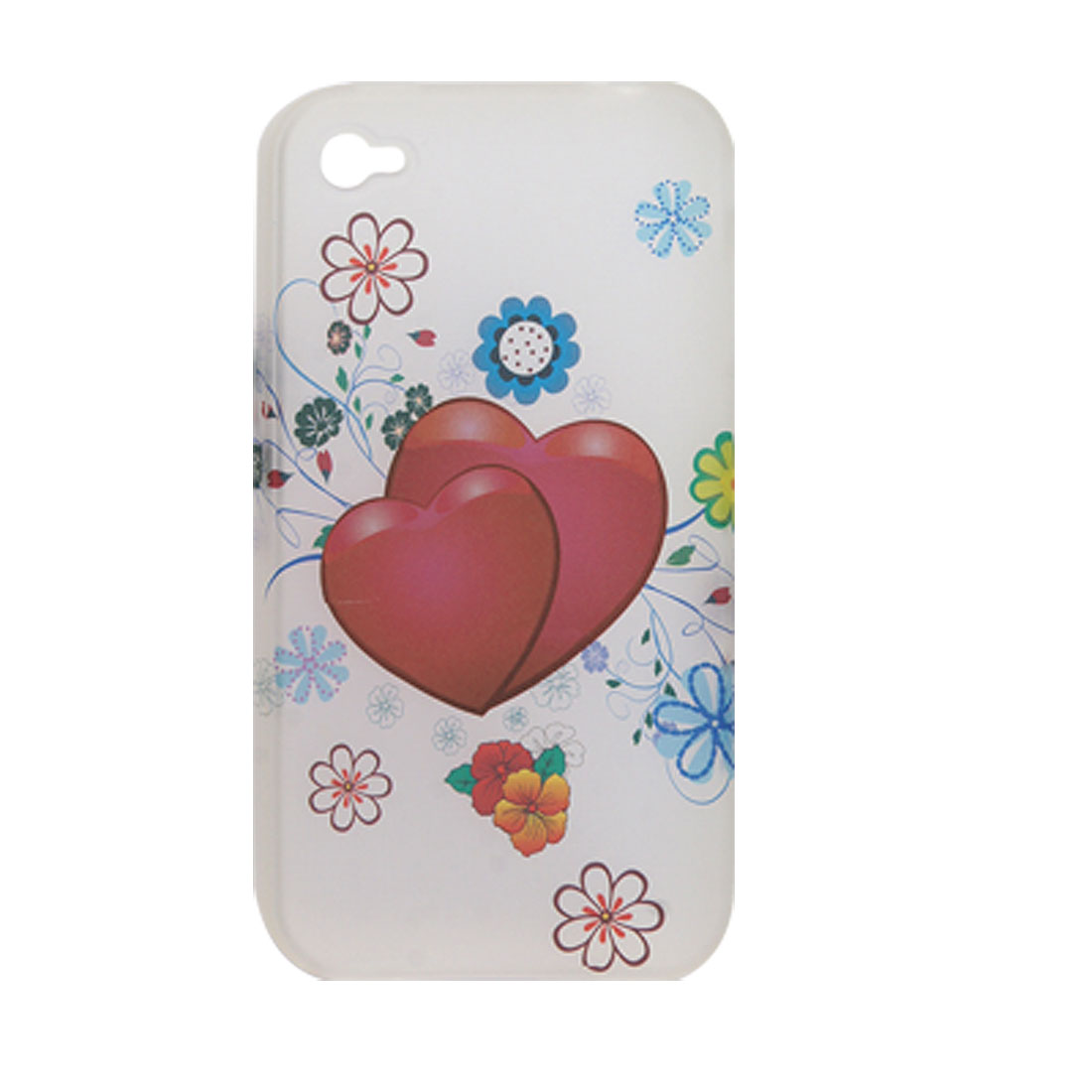 Double Heart Prints Semitransparent Soft Plastic Case for iPhone 4 4G